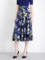 Erdem Hasu Night-print silk-georgette midi skirt