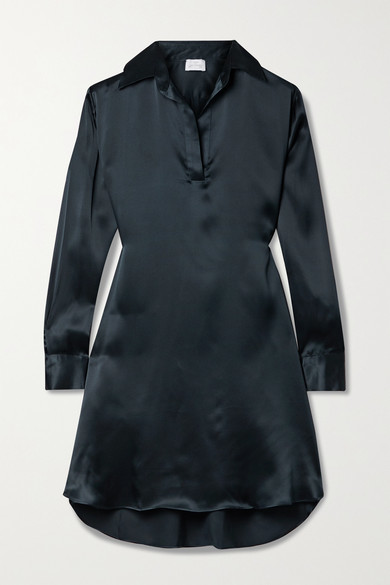 Thumbnail for your product : POUR LES FEMMES Silk-charmeuse Mini Shirt Dress - Midnight blue