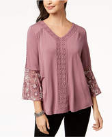 Style&Co. Style & Co Embroidered Bell-Sleeve Top, Created for Macy's