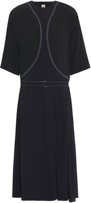 Marni Belted Embroidered Crepe Midi Dress