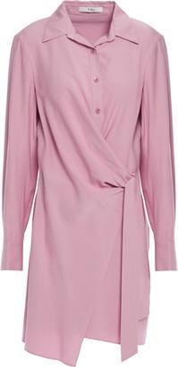 Tibi Wrap-effect Faux Leather-trimmed Poplin Mini Shirt Dress
