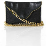 JJ Winters Black Leather Animal Skin Embossed Chain Strap Crossbody Handbag