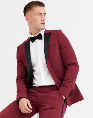 Asos Design DESIGN super skinny tuxedo jacket in burgundy-Red