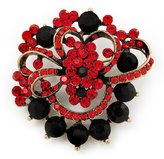 Avalaya Bright Red & Jet-Black Diamante Corsage Brooch (Antique Tone)
