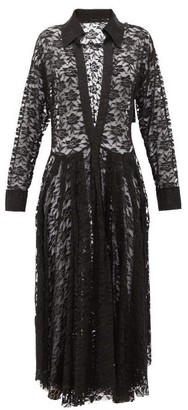 Norma Kamali Plunge-neck Floral-lace Shirtdress - Black Print