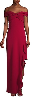 Shoshanna Asymmetric Ruffle Off-The-Shoulder Gown