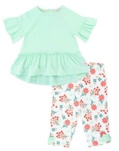 RuffleButts Toddler Girls Neo Mia Top Coral Charm Capri Leggings Set