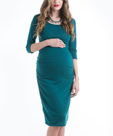 Teal Hacci Maternity Midi Bodycon Dress