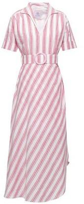 Gül Hürgel Petunia Belted Striped Linen And Cotton-blend Midi Dress
