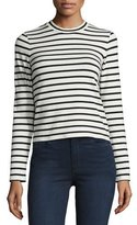 J Brand Harper Striped Long-Sleeve Crop Top, Black/Cream