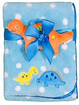 Baby Gear Baby Boys 2 Piece Plush Blanket with Applique & Security Gripping Toy Set