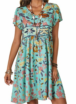 Vera mucca Women's Summer Casual Floral Tunic V-Neckline A-line Dress (Small