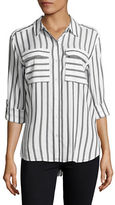Two By Vince Camuto Petite Long Roll-Tab Relaxed Stripe Utility Shirt