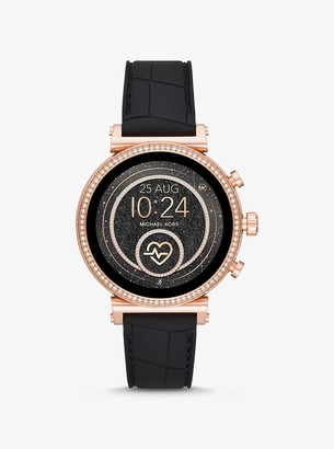 Michael Kors Gen 4 Sofie Rose Gold-Tone and Embossed Silicone Smartwatch