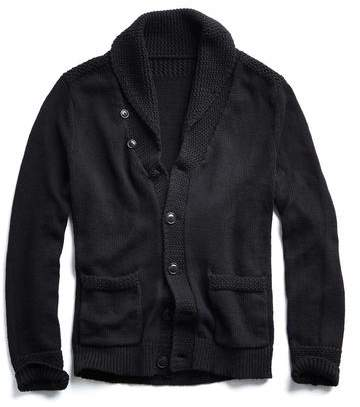 Todd Snyder Cotton Shawl Cardigan in Black
