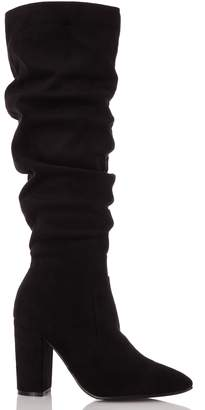 Dorothy Perkins Womens *Quiz Black Suede Ruched Knee High Boots, Black