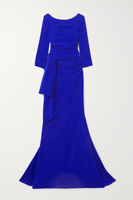 Talbot Runhof Ruched Draped Crepe Gown - Royal blue