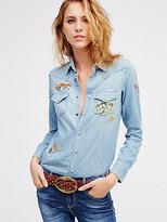 Free People Daze End Indigo Buttondown