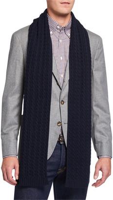 Eton Men's Cable-Knit Wool Scarf, Navy