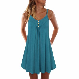 LEXUPE Women Tops Summer Comfortable Cool T-Shirts Casual Fashion Blouses Ladies Sleeveless Spaghetti Strap Double Breasted Plain Shift Dress(Grun 3XL)