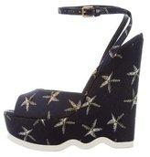 Saint Laurent Woven Wedge Sandals