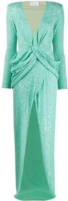 NERVI Sequin Embellished Wrap Gown