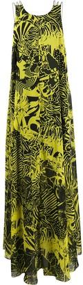 Halpern Scoop-Back Floral Print Maxi Dress