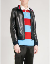 Gucci Striped-trim Leather Bomber Jacket