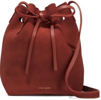 Mansur Gavriel Mini Leather-trimmed Suede Bucket Bag