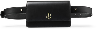 Jimmy Choo VARENNE BELT BAG Black Smooth Calf Leather Belt Bag with JC Emblem