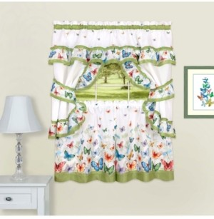 Achim Butterflies Printed Cottage Window Curtain Set, 57x36