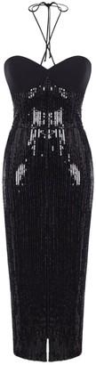 Rasario Black Sequined Midi Dress