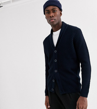 ASOS DESIGN Tall cardigan with diamond texture in navy