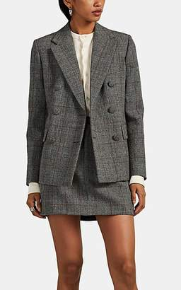 Helmut Lang Women's Checked Wool Double-Breasted Blazer - Gray