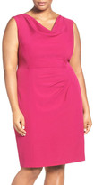 Adrianna Papell Drape Neck Sheath Dress (Plus Size)
