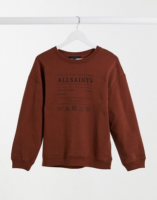 AllSaints Veda relaxed sweatshirt with logo in brown