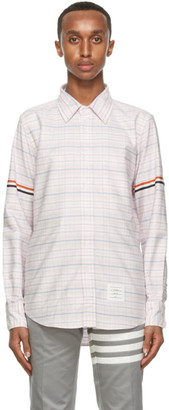 Thom Browne Pink and Blue Oxford Check Armband Shirt