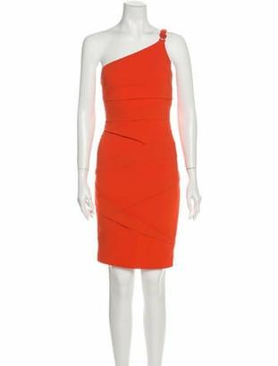 Versace One-Shoulder Knee-Length Dress Orange