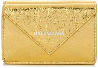 Balenciaga metallic Papier mini wallet