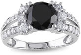 MODERN BRIDE Midnight Black Diamond 2? CT. T.W. White and Color-Enhanced Black Diamond 14K White Gold Engagement Ring