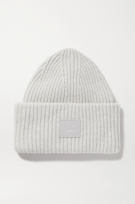 Acne Studios Appliqued Ribbed Wool Beanie - Gray