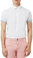 Topman Slim Fit Short Sleeve Shirt with Dot Print Trim