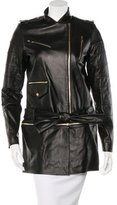 Thomas Wylde Leather Zip-Accented Coat