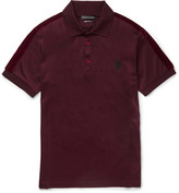 Alexander Mcqueen - Slim-fit Velvet-trimmed Mercerised Cotton-jersey Polo Shirt