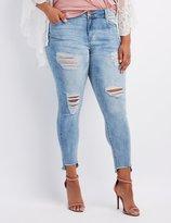 Charlotte Russe Plus Size Refuge Step Hem Destroyed Boyfriend Jeans