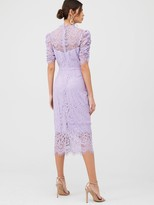 Very Lace Ruched Sleeve Midi Dress