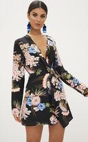 PrettyLittleThing Black Floral Long Sleeve Wrap Dress