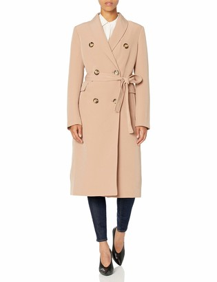 Calvin Klein Womens Breasted Belted Double Weave Trench