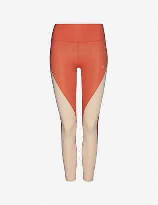 Calvin Klein Colour-blocked high-rise stretch-jersey leggings