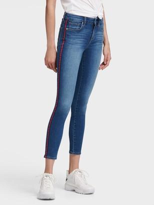 DKNY Women's High-rise Racing Stripe Skinny Jean - Coral Stripe - Size 24